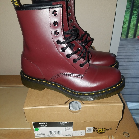 red dr martin boots